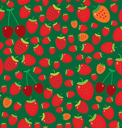 Seamless pattern with strawberries on green vector