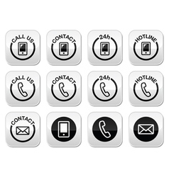 Contact hotline 24h help buttons set vector