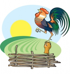 Singing rooster and morning su vector