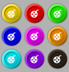 Film icon sign symbol on nine round colourful vector