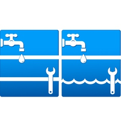 Water icons with tap and wrench vector