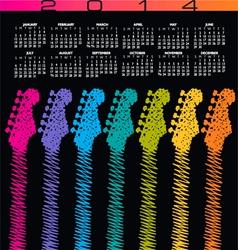 2014 guitar scribble calendar vector