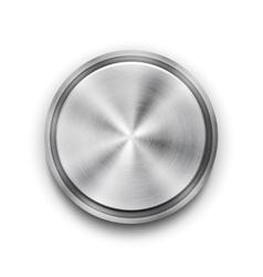 Silver metal textured button vector