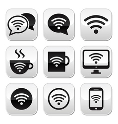 Wifi internet cafe wifi buttons set vector