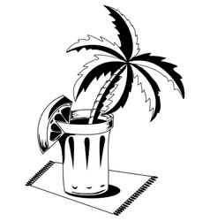 Black and white glass with palm vector