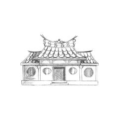Sketch of taiwan temple asia vector