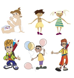 Boys and girls clip-art vector
