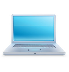 Laptop icon with blue empty vector