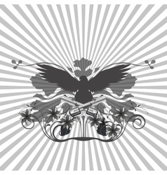 Background pattern and an eagle with guns vector