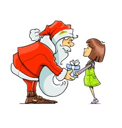 Santa claus give gift to girl vector