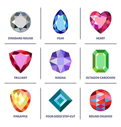 Low poly popular colored gems cuts infographics vector