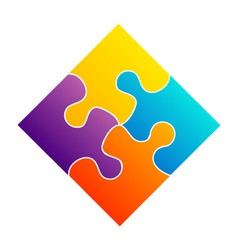 Colorful puzzle- corporate logo for business vector