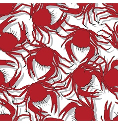 Seamless pattern background with red crabs vector