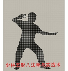 Silhouette of the man of engaged kung fu on a gray vector