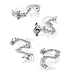 Music notes on swirling staves vector