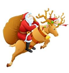 Santa on reindeer with christmas gift vector