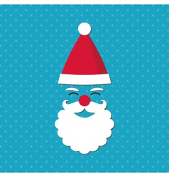 Christmas card with santa face vector