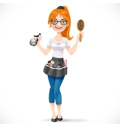 Cute redhead girl hairdresser with spray vector