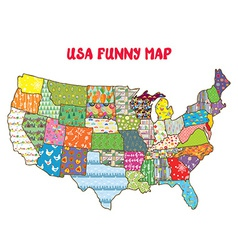 United states funny map with patterns vector