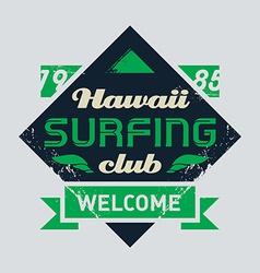 Surfing tee vintage design vector