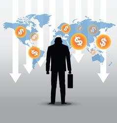 Stock market crash with businessman vector