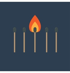 Match set with one burning orange fire light flat vector