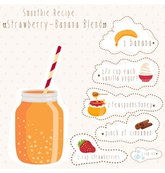 Smoothie recipe in bank mason with straw vector