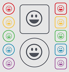 Funny face icon sign symbol on the round and vector