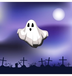 Ghost on cemetery vector