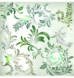 Set of vintage colorful floral branches vector