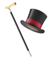 Cylinder hat and walking stick vector