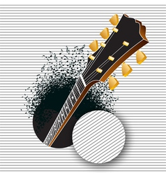 A guitar pops out of a hole vector