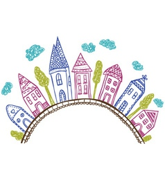 Houses on hill - doodle vector