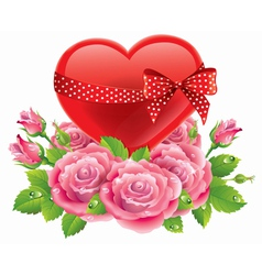 Heart in roses vector