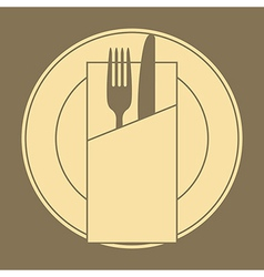 Knife fork plate and napkin vector