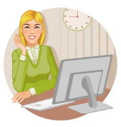 Young woman at the computer eps10 vector