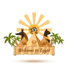 Egypt travel poster element vector