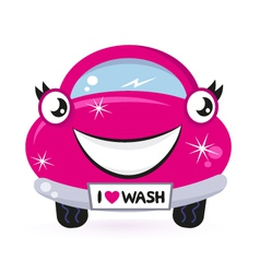 Cute pink car wash vector