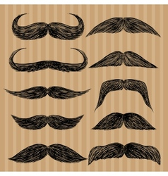 Different types of mustaches retro style vector