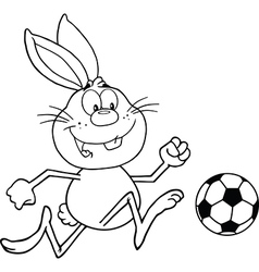 Rabbit playing soccer cartoon vector