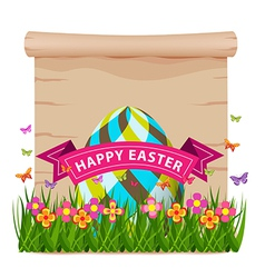 Easter egg with grass and butterflies of spring vector