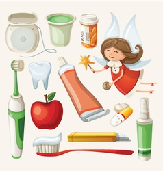 Set of items for keeping your teeth healthy vector