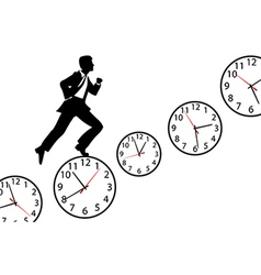 Busy man hurry up work day clock vector