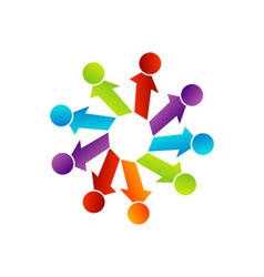 Abstract people together showing teamwork vector