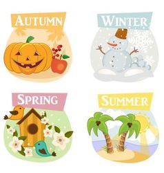 Four seasons flat icons vector
