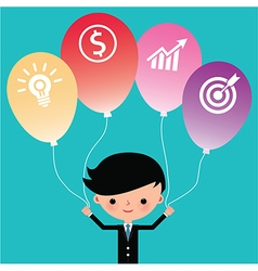 Businessman holding icon balloons vector