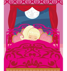 Girl sleeping in his bedroom vector