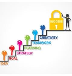 Keys climb up success stair and business man vector