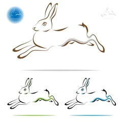 Running rabbit outline vector