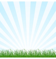 Landscape background with grass and sky vector